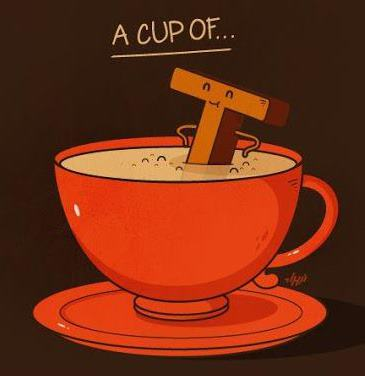 A capital T in a tea cup creating the pun A Cup of Tea