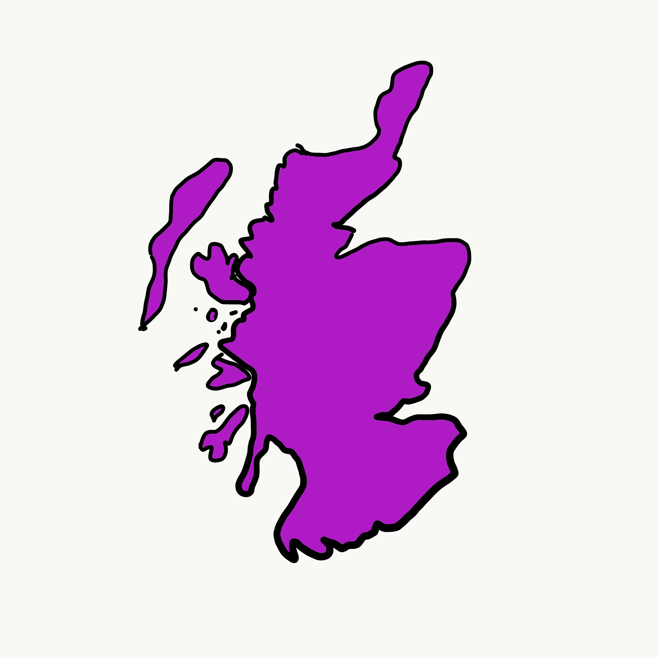 Hand drawn map of Scotland